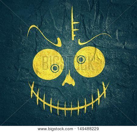 Doodle Skull with Evil Laugh. Simple silhouette. Concrete texture