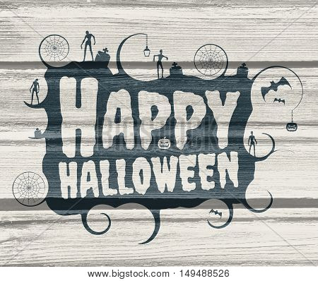 Halloween text calligraphy. Death metal music style font. Emblem with Halloween relative icons. Wood texture