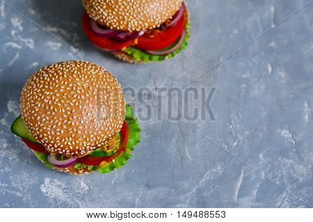 Homemade big hamburger with meat and fresh vegetables with space for text.