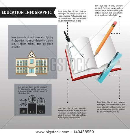 Compass pencil book and ruler icon. Education and learning infographic theme. Grey background. Vector illustration