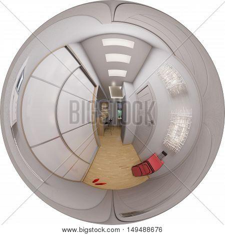 3d illustration spherical 360 degrees seamless panorama hallway interior design. Modern studio apartment in the Scandinavian minimalist style