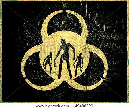 Biohazard sign and zombie silhouettes on them. Halloween theme background. Concrete texture