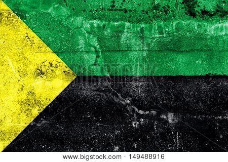 Flag Of Puerto Francisco De Orellana, Ecuador, Painted On Dirty Wall