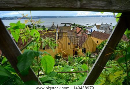 A view across the gardens to the old palace in Culross