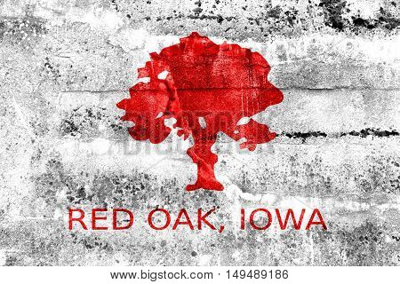 Flag Of Red Oak, Iowa, Usa, Painted On Dirty Wall