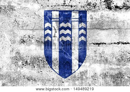 Flag Of Reykjavik, Iceland, Painted On Dirty Wall