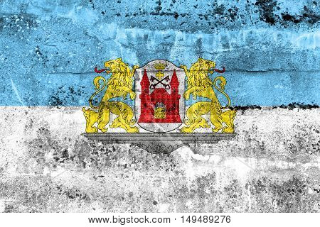 Flag Of Riga, Latvia, Painted On Dirty Wall
