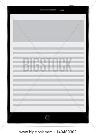 Realistic tablet pc computer with blank screen isolated on white background. Vector eps10 illustration