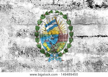Flag Of Rosario, Santa Fe, Argentina, Painted On Dirty Wall