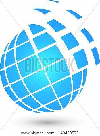 Earth logo, Globe, Globe logo, blue Planet