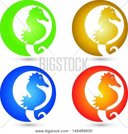 Logo, seahorse, colored, fish, animal logo, seafood