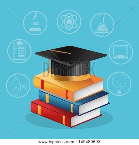 Books graduation cap and icon set. Education school and classroom theme. Colorful design. Vector illustration