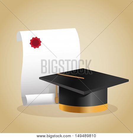 Graduation cap and diploma icon. Education school and classroom theme. Colorful design. Vector illustration