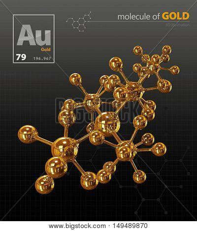Illustration Of Gold Molecule Isolated Black Background