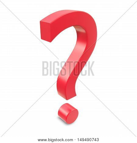 Red question mark isolated on white background. 3d rendering.