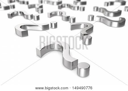 Chrome, metallic question marks on a white background with the effect depth of field. 3d rendering.