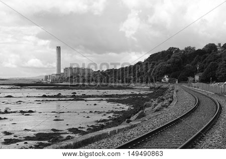 A view along the coastal railway track at Culross