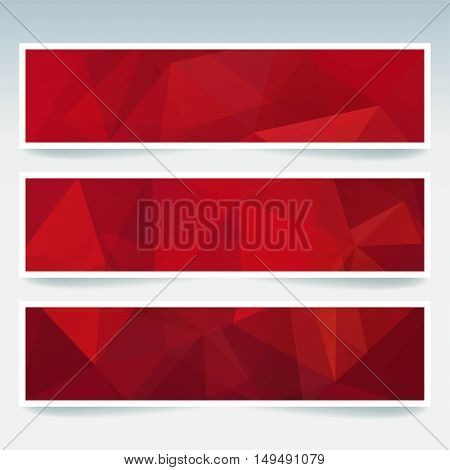 Horizontal Banners Set With Polygonal Red Triangles. Polygon Background, Vector Illustration