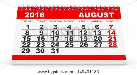 Calendar August 2016 On White Background.