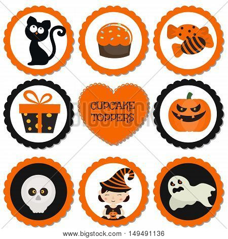 Cupcake toppers for Halloween. Halloween in cartoon style. Halloween objects.