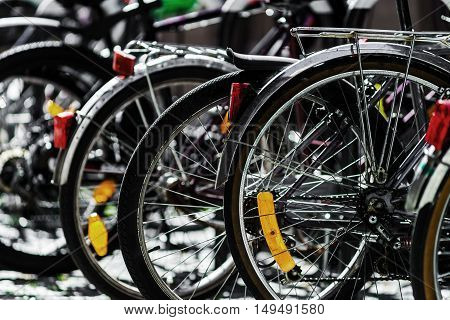 Bicycles Parking In Big European City, Summer Day