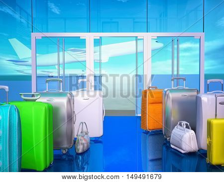 Travel bags ball and airplane in sky. 3D illustration