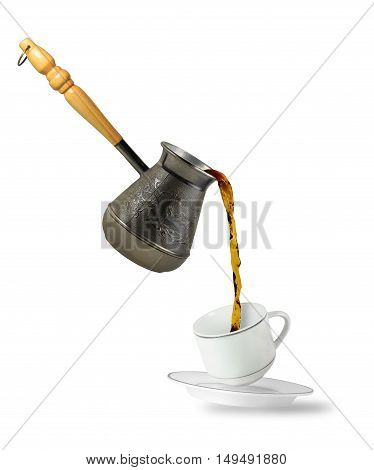Coffee falling into cup isolated on white background