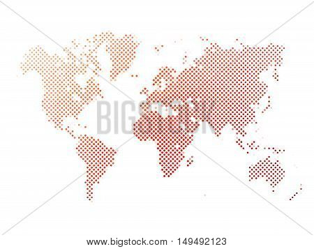 World map of red dots on white background in corss arrangement. Map of world silhouette flat halftone vector theme.