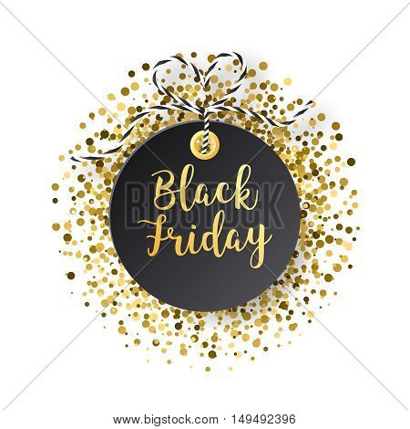 Black Friday sales tag. Black friday design, sale, discount, advertising, marketing price tag. Black tag with golden glitter isolated on white backround. Vector illustration