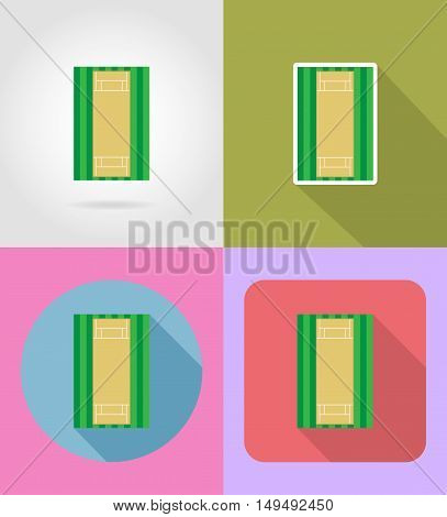 playground for cricket flat icons vector illustration isolated on background