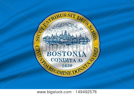 Flag of Boston is the capital city of Massachusetts in United States. 3D illustration