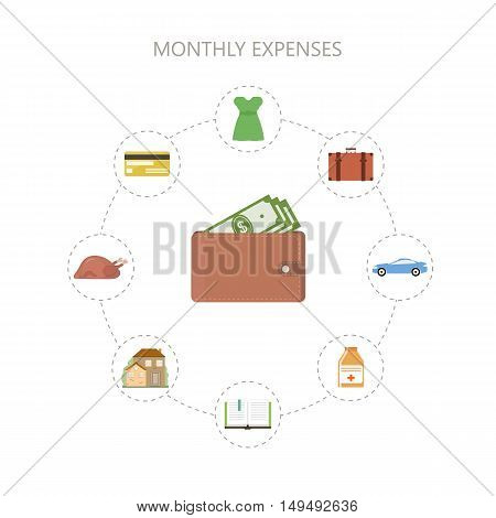 Monthly expenses background. Personal finance concept. Saving the family budget. Vector illustration flat style.