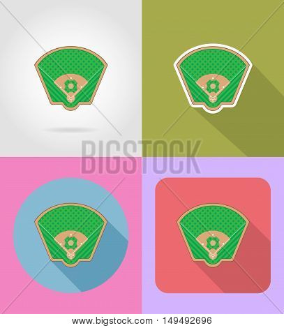 baseball field flat icons vector illustration isolated on background