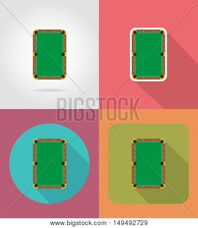 billiards table flat icons vector illustration isolated on background