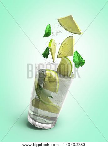 Mojito Cocktail 3D Render Isolated On Gradient