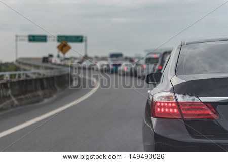 Traffic Jam On Express Way With Row Of Cars
