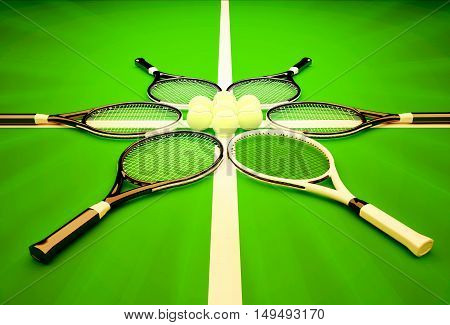 Tennis rackets and balls on a green background. Tennis school. 3D illustration