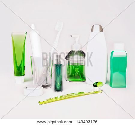 Means of hygiene. Toothpaste, toothbrush, balm, soap, shampoo. 3D illustration