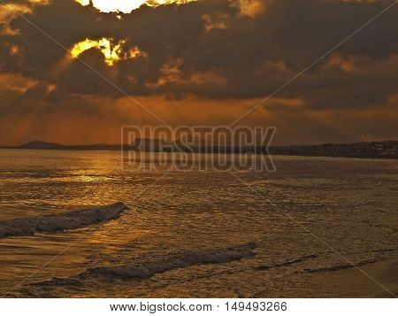 meeting the dawn of the morning the beach in Rethymnon Crete