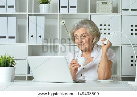 happy Elderly woman working on laptop in office