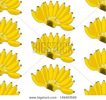 Seamless Pattern Yellow Banana On White Background. Summer Fruit In Vector/illustration.