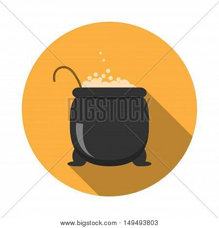 Isolated vector icon of cauldron for Halloween with shadow.