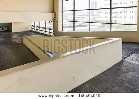 Empty Parking Deck With Ramp