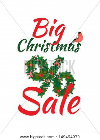 Festive Big Christmas Sale New Year Poster With Wreath Garland Candy, Berries, Bullfinch Bird, Lette