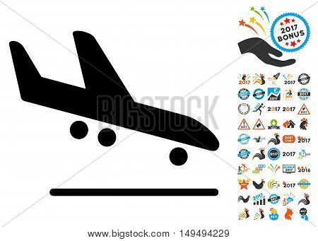 Airplane Arrival icon with 2017 year bonus glyph pictograms. Set style is flat symbols, white background.