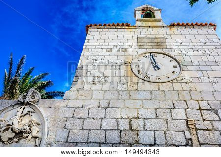 View at architecture details in town Pag, Island Pag landmarks, Croatia Europe.