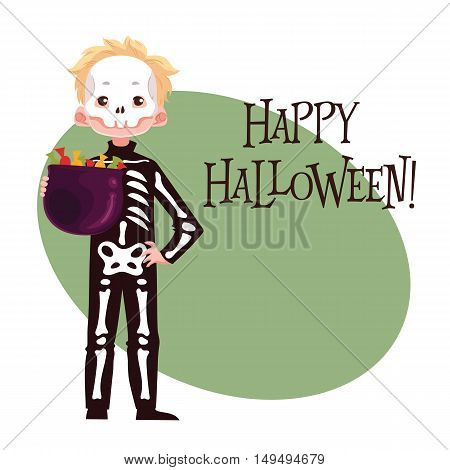 Happy boy dressed as skeleton for Halloween, cartoon style illustration isolated on white background. Skeleton fancy dress idea. Trick or treat Halloween card