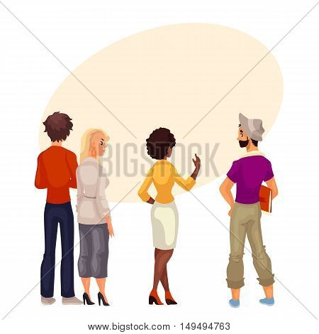 People stand with his back to audience and are looking forward to something, cartoon . group of people standing with his back to us and look carefully where could be your sign and advertising