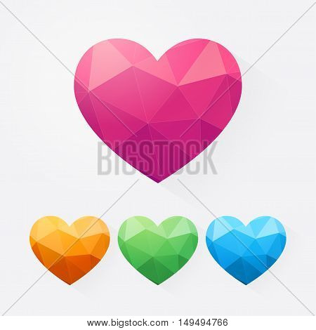 Vector set Abstract polygonal heart. Love symbol. Pink orange pink blue heart