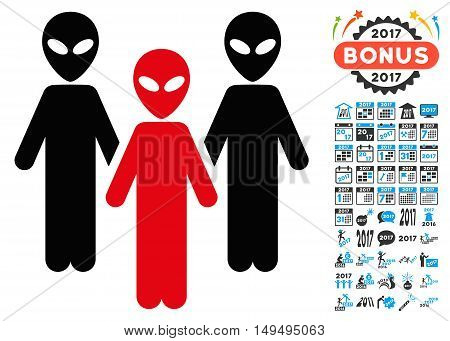 Alien Group icon with 2017 year bonus glyph pictograms. Clipart style is flat symbols, white background.